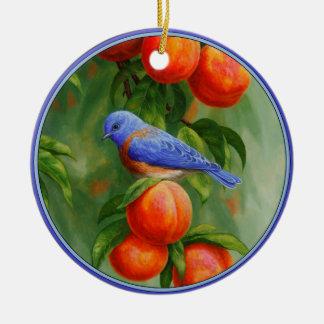 Ornement Rond En Céramique Oiseau bleu occidental et pêches mûres