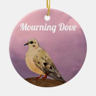 Ornement Rond En Céramique Oiseau de deuil de jardin de colombe sur la