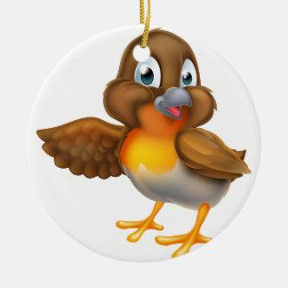 Ornement Rond En Céramique Oiseau de Robin de bande dessinée dirigeant l'aile