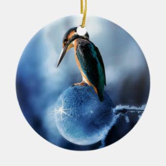 Ornement Rond En Céramique Oiseau de ronflement sur le tir congelé de macro