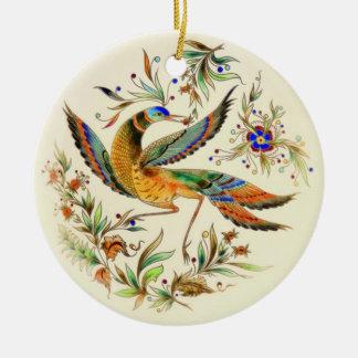Ornement Rond En Céramique Oiseau de Zsolnay de Hongrois d'OPUS