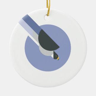 Ornement Rond En Céramique Oiseau minimaliste abstrait