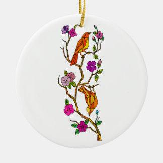 Ornement Rond En Céramique Oiseau sur le bas polygone de fleurs de cerisier