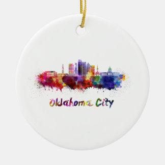 Ornement Rond En Céramique Oklahoma Ville V2 skyline in watercolor