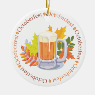 Ornement Rond En Céramique Oktoberfest dans l'ornement rond