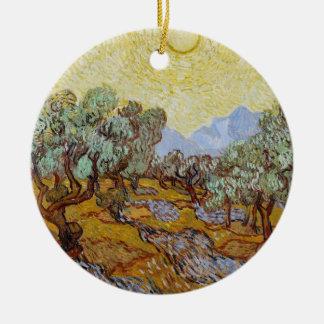 Ornement Rond En Céramique Oliviers de Vincent van Gogh |, 1889