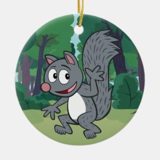Ornement Rond En Céramique Ondulation grise d'écureuil de Rick   de garde