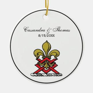 Ornement Rond En Céramique Or de très bon goût Crest Fleur de Lis Emblem