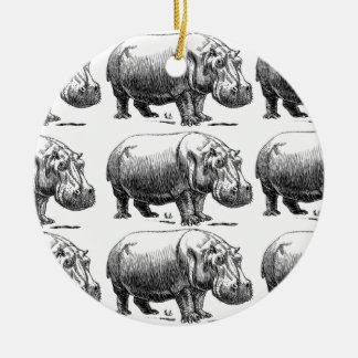Ornement Rond En Céramique or d'hippopotame