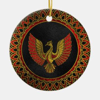 Ornement Rond En Céramique Or et symbole décoré rouge d'oiseau de Phoenix
