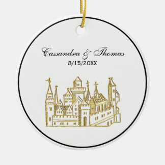 Ornement Rond En Céramique Or héraldique vintage de Faux de crête du château