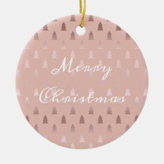 Ornement Rond En Céramique Or rose élégant et motif rose d'arbre de Noël