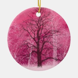 Ornement Rond En Céramique oranament rose du pays des merveilles d'hiver