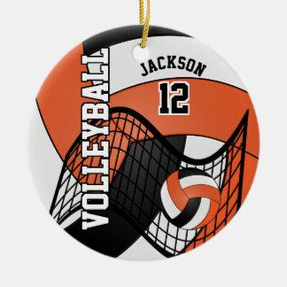 Ornement Rond En Céramique Orange, blanc et noir personnalisez le volleyball