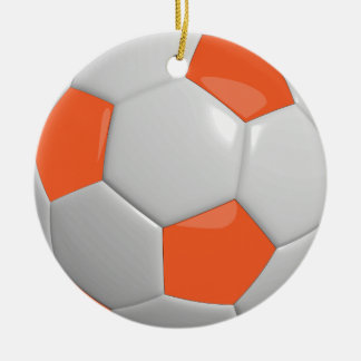 Ornement Rond En Céramique Orange du ballon de football |