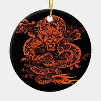 Ornement Rond En Céramique Orange épique de dragon