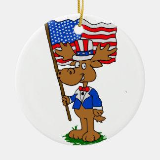 Ornement Rond En Céramique Orignaux de patriote