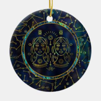 Ornement Rond En Céramique Ormeau d'or de zodiaque de Gémeaux sur la