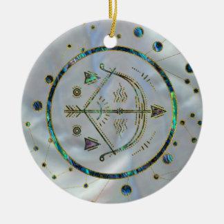 Ornement Rond En Céramique Ormeau d'or de zodiaque de Sagittaire sur la