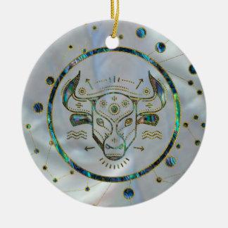 Ornement Rond En Céramique Ormeau d'or de zodiaque de Taureau sur la