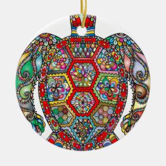 Ornement Rond En Céramique Ornamental décoratif de fleurs florales de tortue