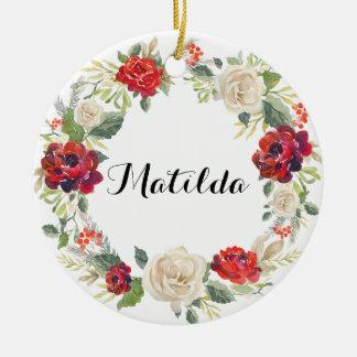 Ornement Rond En Céramique Ornement/roses floraux de vacances de guirlande de