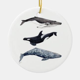 Ornement Rond En Céramique Orque, baleine bossue et baleine gris