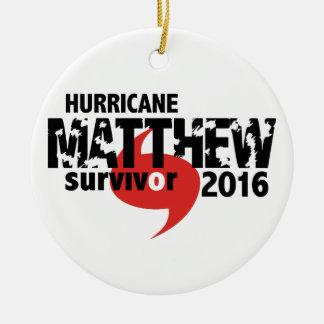 Ornement Rond En Céramique Ouragan Matthew survivant en octobre 2016