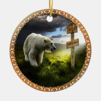 Ornement Rond En Céramique ours blanc regardant le signe en bois de Pôle Nord