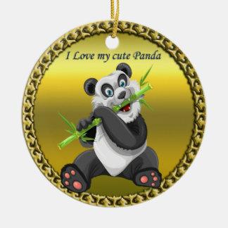 Ornement Rond En Céramique Ours panda mignon adorable mangeant l'arbre en
