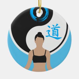 Ornement Rond En Céramique Paix de yoga de Yin Yang