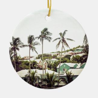 Ornement Rond En Céramique Palmiers en Bermudes