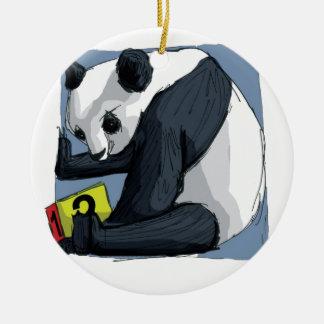Ornement Rond En Céramique Panda