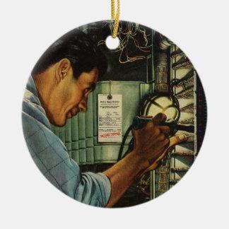 Ornement Rond En Céramique Panneau de disjoncteur vintage d'électricien