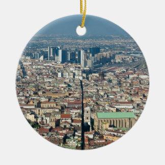 Ornement Rond En Céramique Panorama de Naples