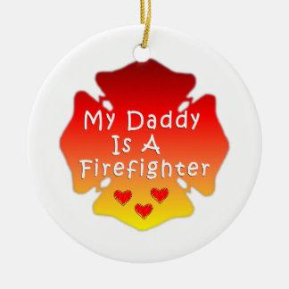 Ornement Rond En Céramique Papa de sapeur-pompier