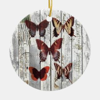 Ornement Rond En Céramique papillon chic minable français en bois de grange