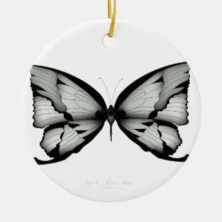 Ornement Rond En Céramique Papillon sage alpin