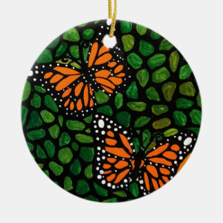Ornement Rond En Céramique papillons
