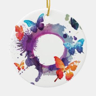 Ornement Rond En Céramique Papillons en pastel d'aquarelle autour d'un anneau