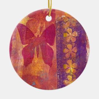 Ornement Rond En Céramique Papillons et fleurs