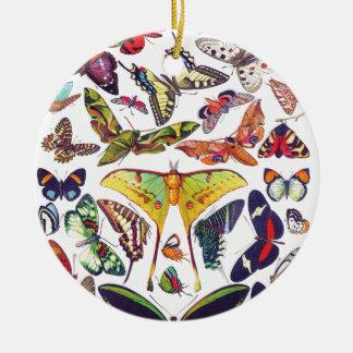 Ornement Rond En Céramique Papillons vintages