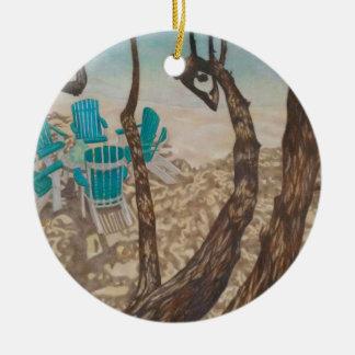 """Ornement Rond En Céramique """"Par les arbres, St John """""""