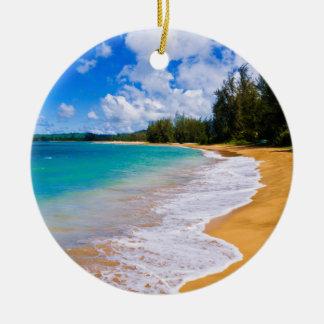 Ornement Rond En Céramique Paradis tropical de plage, Hawaï