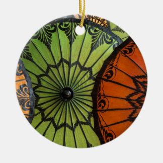Ornement Rond En Céramique parasols à vendre, bagan, myanmar