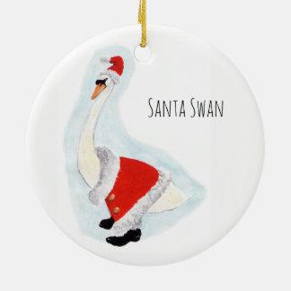 Ornement Rond En Céramique Paresse de Père Noël/cygne de Père Noël