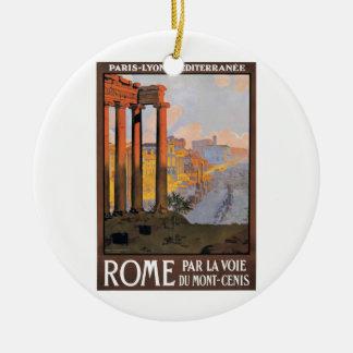 Ornement Rond En Céramique Paris 1920 à l'affiche de voyage de train de Rome