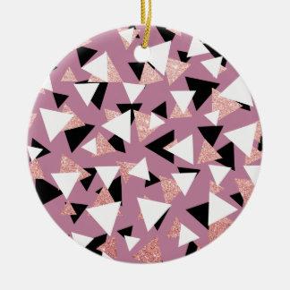 Ornement Rond En Céramique Parties scintillantes roses d'or de triangles