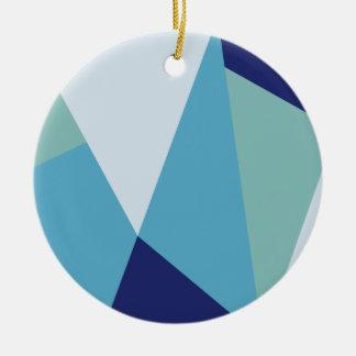 Ornement Rond En Céramique Pastel géométrique élégant de bleu marine et de