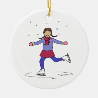 Ornement Rond En Céramique Patineur artistique de fille de patinage de glace